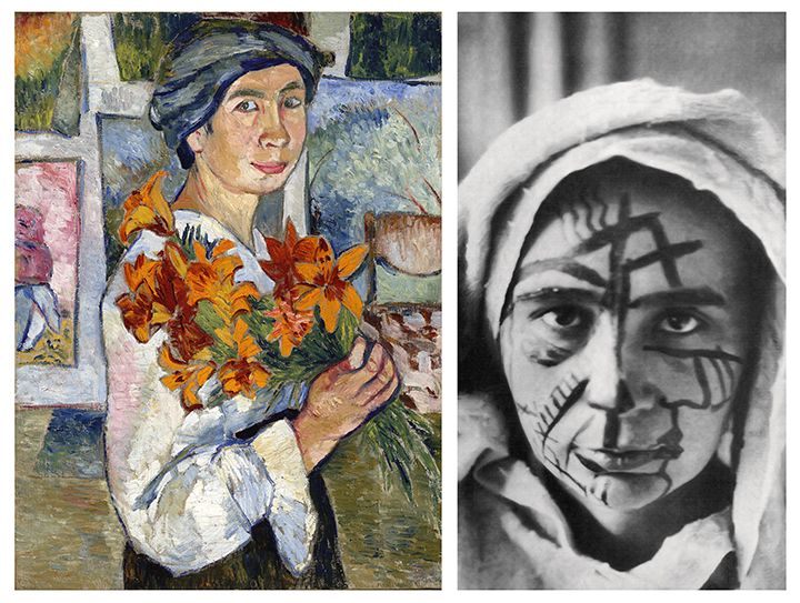 Natalia Goncharova: Self-Portrait with Yellow Lilies (1907–1908). The State Tretyakov gallery. © The State Tretyakov gallery | Natalia Goncharova in 1913. © The State Tretyakov gallery
