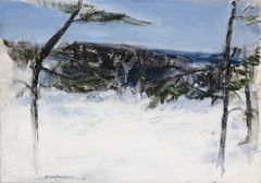 One of the artworks at the Silent Beauty exhibition. Aimo Kanerva: Winter Landscape, Otalampi (1951–1952). Finnish National Gallery / Ateneum Art Museum. Photo: Finnish National Gallery / Hannu Pakarinen.
