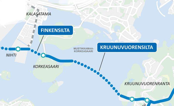 Kalasataman eteläkärjen eli Nihdin ja Kruunuvuorenrannan välisten kahden sillan, eli Finkensillan ja Kruunuvuorensillan, rakentaminen alkaa. NIhdin ja Hakaniemen välinen Merihaansilta rakennetaan myöhemmin.