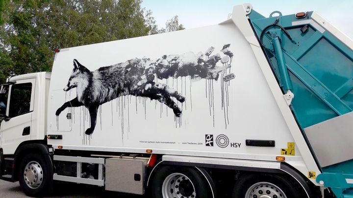 Jussi TwoSevenin taideteos muistuttaa muovipakkausten lajittelusta.