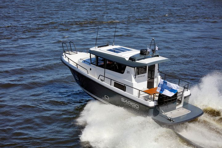 "Walk-around ""SUVs of the Sea"" from traditional Ostrobothnian boat builders have generated an international trend. The models present at the show include the Sargo 31 Explorer."