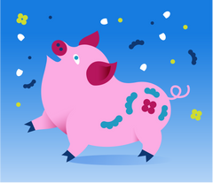Year of the Pig 2019. Illustration: Anna-Kaisa Jormanainen