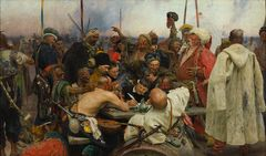 Ilya Repin: Zaporozhian Cossacks Writing a Mocking Letter to the Turkish Sultan (1880–1891). State Russian Museum. © State Russian Museum, St. Petersburg