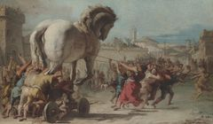Giovanni Domenico Tiepolo (1727−1804): Troijan hevosta rakennetaan. National Gallery, London