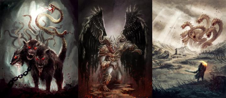 Kerberos, Azazel ja Hydra ovat myyttisiä hirviöitä. Kuvat: Hirviöiden galleria
