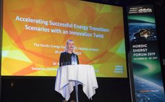Dr Angela Wilkinson, the next Secretary General of the World Energy Council presented scenarios of the future of energy at the Nordic Eergy Forum 2019 in Helsinki. Photo Mauri Ratilainen