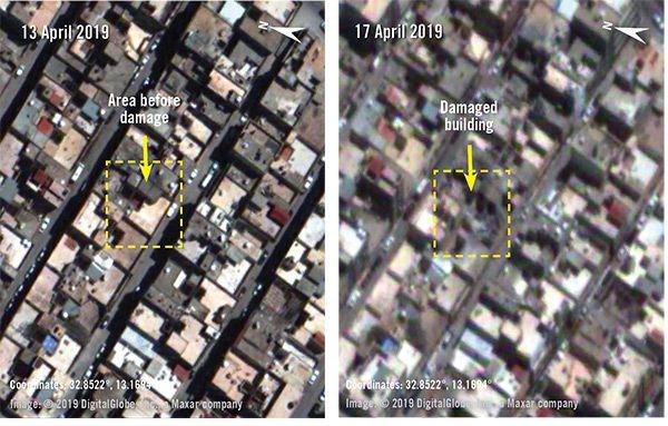 Ennen ja jälkeen -kuvat Abu Salimista. Vasemmalla oleva kuva on otettu 13. huhtikuuta ja oikealla oleva 17. huhtikuuta. Kuvista huomaa, että alue on vahingoittunut tai tuhoutunut kokonaan.
