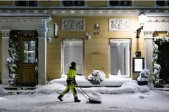 Winter maintenance at night. Picture: Stara/Veikko Somerpuro