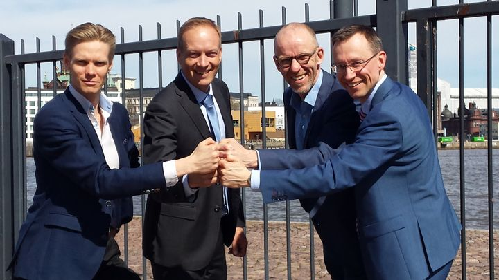 Demola joins DIMECC, rejoiced by CEO Ville Kairamo of Demola Global; Ilari Kallio, Chairman of the Board of Directors of DIMECC and Director, Digitalisation in Wärtsilä Marine Solutions; Petri Räsänen, Chairman of the Board of Demola Global and Director, Innovation and Foresight at Council of Tampere Region; and CEO Harri Kulmala of DIMECC. Photo: Kari Aunola/DIMECC