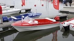 A line-up of altogether seven different-coloured Marino Mustang retro boats will be moored at the show.