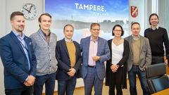 Rapid Tampere collaboration accelerator actors (from left to right): Antti Keskinen representing Caruna, Lars Melakoski and Sébastien Gianelli representing Vertical, 