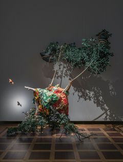 Yinka Shonibare CBE: The Swing (after Fragonard) (2001). Tate, London. © Yinka Shonibare CBE. Photo: Finnish National Gallery / Hannu Pakarinen.