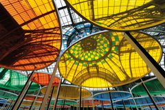 Daniel Buren: Excentrique(s), travail in situ, Monumenta 2012, Grand Palais, Paris, 2012. Détail. © DB-ADAGP Paris